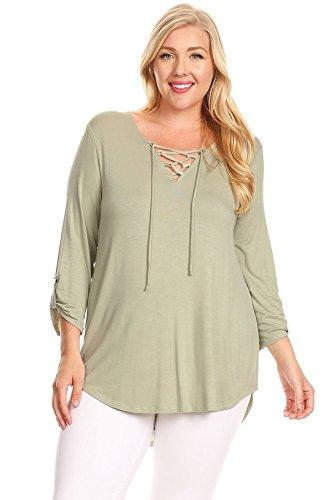 Nelly Aura Plus Size Tunic Shirt 3/4 Sleeve V-Neckline Green Top w/ Spaghetti Strap - 3X