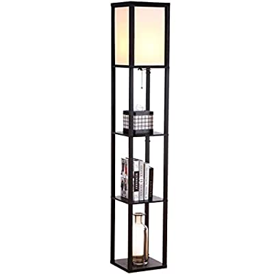 Brightech - Maxwell LED Shelf Floor Lamp – Modern Asian Style Standing Lamp with Soft Diffused Uplight White Shade- Wooden Frame with Convenient Open Box Display Shelves
