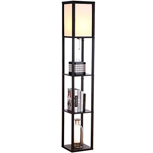 Brightech - Maxwell LED Shelf Floor Lamp – Modern Asian Style Standing Lamp with Soft Diffused Uplight White Shade- Wooden Frame with Convenient Open Box Display Shelves- Black (Floor Standing Lamp)