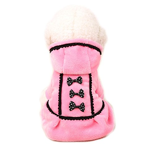 Boomboom Newest Lovely Winter Warm Bowknot Pet Puppy Dog Coat Clothes (L, Pink) ()