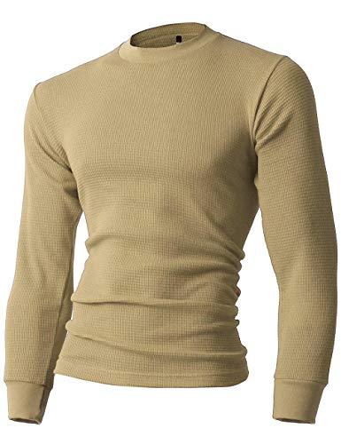 (Hat and Beyond Mens Thermal T Shirts (Large/ ks23_Khaki))