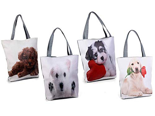 Ideapiu 4 Sac en simili cuir et tissu avec imprimé chien, poche intérieure zippée