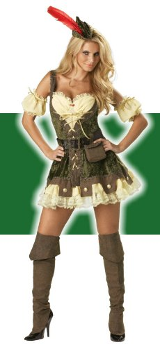 (InCharacter Costumes, LLC Women's Racy Robin Hood Costume, Tan/Green,)