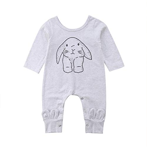 XBRECO Newborn Baby Boy Girls Halloween Jumpsuit,Long Sleeve Clothes Romper Pajamas Coveralls Outfit (0-3 Months, Light Gray)
