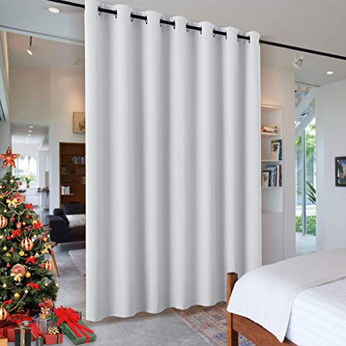 (RYB HOME Room Divider for Space, Furniture Protect Ceiling to Floor Blackout Curtain Partition for Patio Sliding Glass Door/Living Room/Locker Room, Width 100 in x Length 84 in, Greyish White)