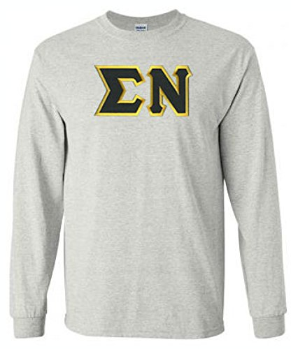 Sigma Nu Lettered Long Sleeve X-Large Light Grey