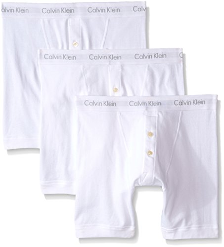 Calvin Klein Men's 3 Pack Cotton Classics Button Fly Boxer Brief, White, (White Button Fly Boxer)