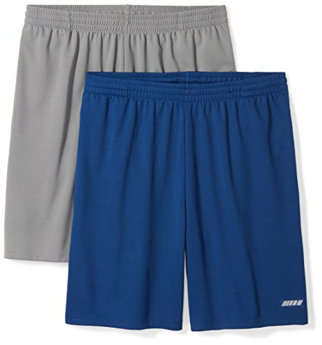 Amazon Essentials Men's 2-Pack Loose-Fit Performance Mesh Shorts, Medium Grey/Navy, - Mens Running Short Shorts