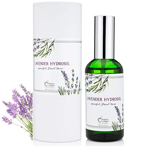 LAVENDER HYDROSOL FACE TONER - All Natural Organic Essential Floral Water Spray to Hydrate, Calm & Sooth Skin. Prevent Acnes, Restore pH. Great as Yoga, Sleep & Pillow Linen Mist by Hello Cider ()