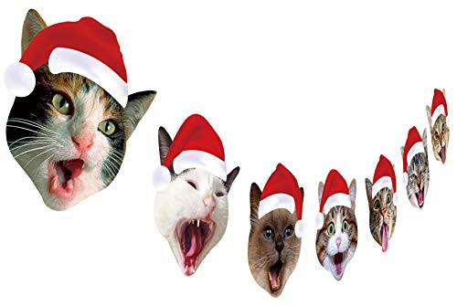 Cat Christmas Garland, Cat Face Christmas Party Hanging Decorations, Xmas Gift for Cat ()