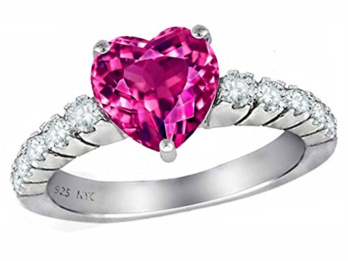 (Star K 8mm Heart Shape Simulated Pink Tourmaline Ring Sterling Silver Size 8)