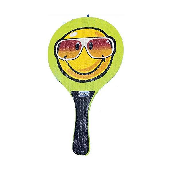 Racchettoni da spiaggia in legno con pallina mod.Smile, coppia racchette beach tennis in legno da 8mm, coppia racchetta… 1 spesavip