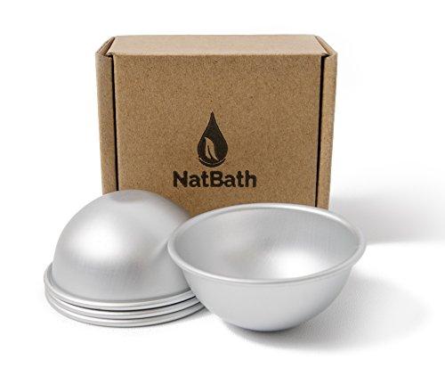 "NatBath - 2 Molds Set - Large Metal Bath Bomb Mold - DIY to make lush bath fizzies! 2.56"" Professional Quality"