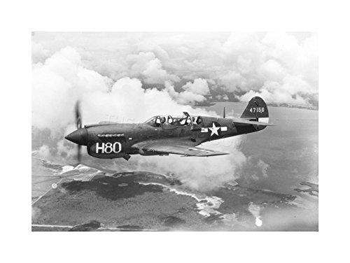 WAR MILITARY PLANE VINTAGE FIGHTER JET BLACK WHITE P-40 FRAMED PRINT F12X4060