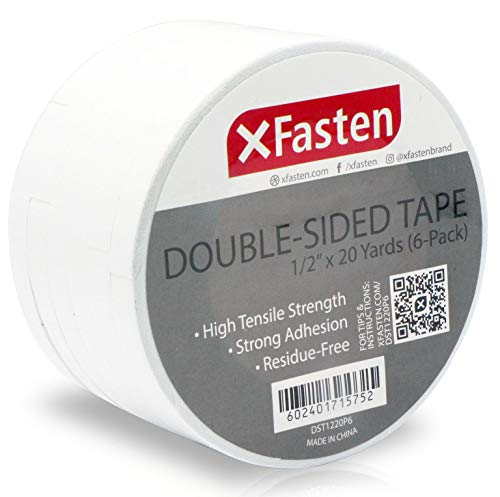 XFasten Double Sided Tape, Removable, 1/2-Inch by 20-Yards, Pack of 6 Ideal as a Gift Wrap Tape, Holding Carpets, and Woodworking