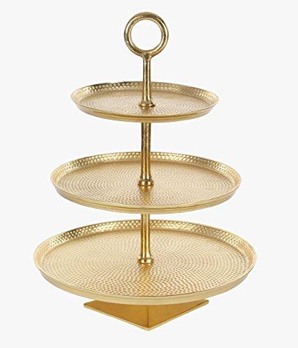 Deco 79 53452 Gold Aluminum 3-Tier Tray - Tier Aluminum Stand
