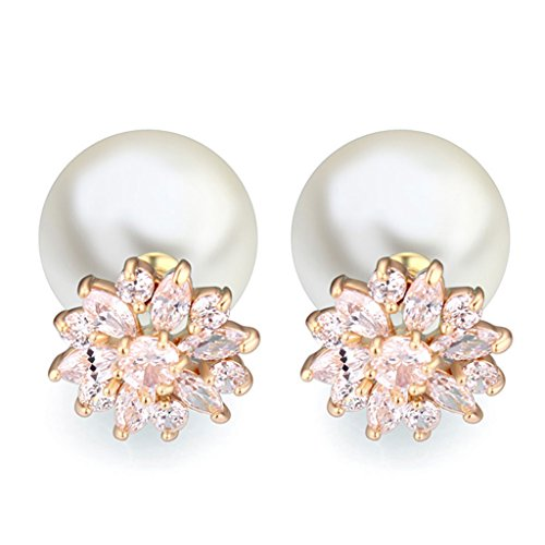 Vintage Pearl Earring AAA Zirconic Stud Earrings (Venetian White Earrings)