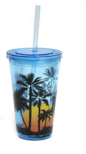 Spoontiques Tropical Sunset Acrylic Cup with Straw Clear Tumbler (Retreat Tropical)