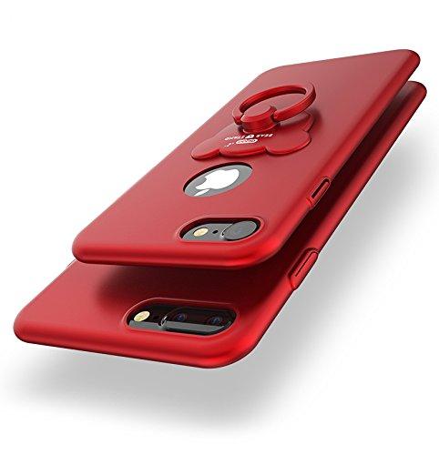 Carcasa Apple iPhone 6/iPhone 6s (4.7), iPhone 6/iPhone 6s Funda Silicona, EUWLY Ultrafina Original Cáscara del Teléfono Móvil PC Silicona Funda con Soporte Oso Anillo Protectora Parachoques Trasero  Oso Anillo,Rojo