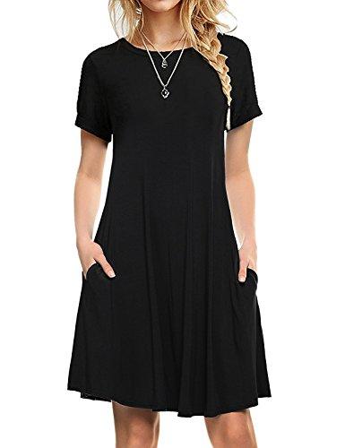 I2crazy Women's Short Sleeve Pockets Casual Plain T-Shirt Loose Dresses(01-Short Sleeve-Black,S)