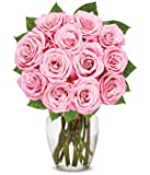 From You Flowers - One Dozen Light Pink Roses (Free Vase Included)