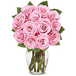 From You Flowers - One Dozen Light Pink Roses (Free Vase Included) for Valentine's Day