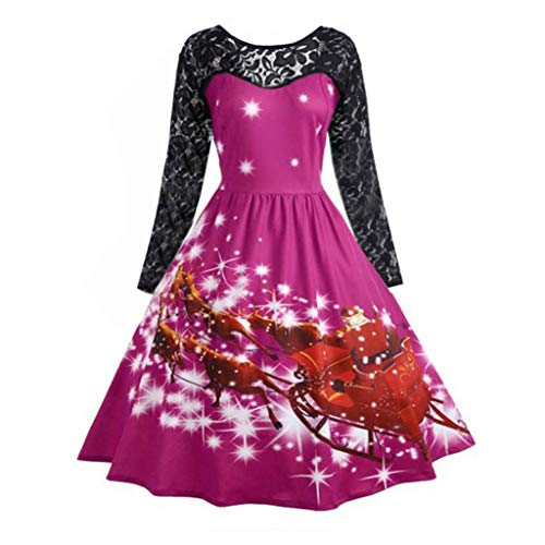 Christmas Retro Dress Women's Fashion Lace Long Sleeve Print Party Swing Dress ANJUNIE(Hot Pink,M) for $<!--$10.11-->