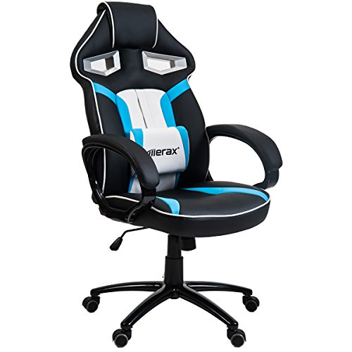 Merax Stylish Devil's Eye Series High-Back Gaming Chair PU Leather and Mesh (Red)