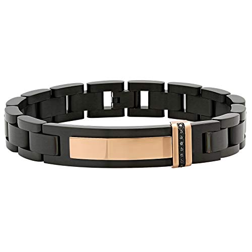 Jewelry Nation Men's 0.10 cttw Black Diamond Stainless Steel Black and Rose Id Bracelet, 8.75