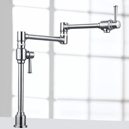 ess Steel Deck Mount Pot Filler Kitchen Faucet with Dual Handles by Geyser (Pot Fillers Double Handle)