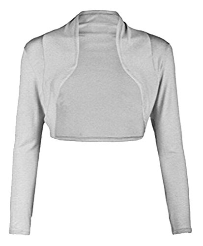 Vska Women's Long Sleeve Solid Color Open Front Cropped Shrug Cardigan Top Light Grey (Linen Shrug)
