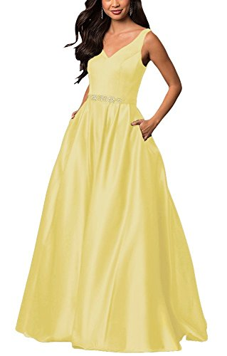 yinyyinhs Women's Prom Dresses Off The Shoulder Evening Dresses Satin Beaded Party Dress A-Line Long with Pocket Formal Gown Size 24 Yellow Bill Levkoff Junior Bridesmaid Dresses