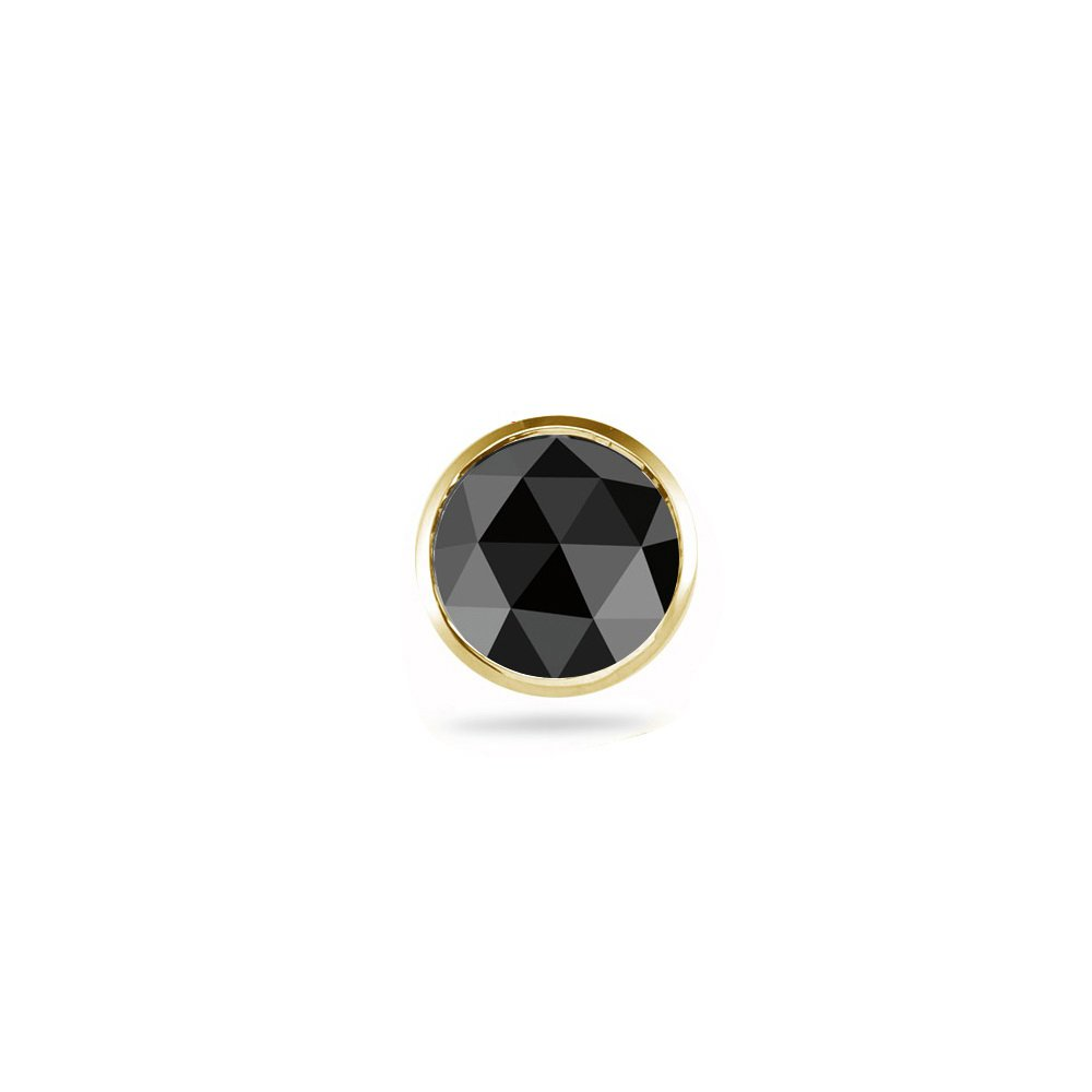 0.43-0.52 Cts Round Rose Cut AA Black Diamond Mens Stud Earring in 14K Yellow Gold by Vogati (Image #1)