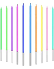 Verjaardagskaarsen Kleurrijk, 20-delige Kaarsenset Met Houders,Lange Slanke Taartkaarsen Voor Verjaardagsfeestjes Taartdecoratie