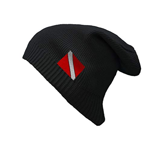 Speedy Pros Sport Scuba Diving Flag Embroidered Unisex Adult Organic Cotton Slouch Beanie Warm Hat - Black, One Size ()