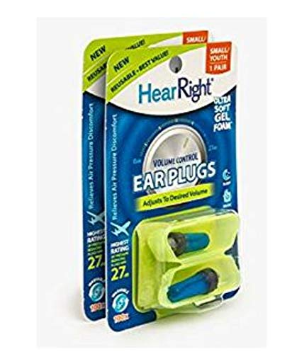 HearRight Volume Control Ear Plugs - Adjustable Ear Plugs - Soft Foam Ear Plugs for Hearing Protection - (2-Pack) -