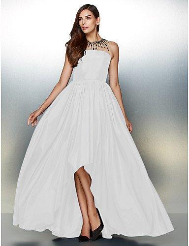 Con Joya Tafetán Asimétrica Una Vestido Noche amp;OB De Crystal Prom HY De Formal Línea Detallando Cuello White De qnE6Xvzv5