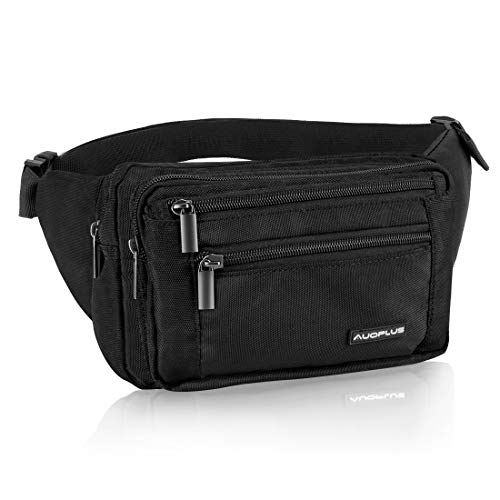(AUOPLUS Fanny Pack for Men/Women, Multi Pocket Belt Bag Outdoor Waist Pouch Hip Bumbag with Adjustable Strap & Extension for Hiking/Workout/Vacation/Travelling (Black))