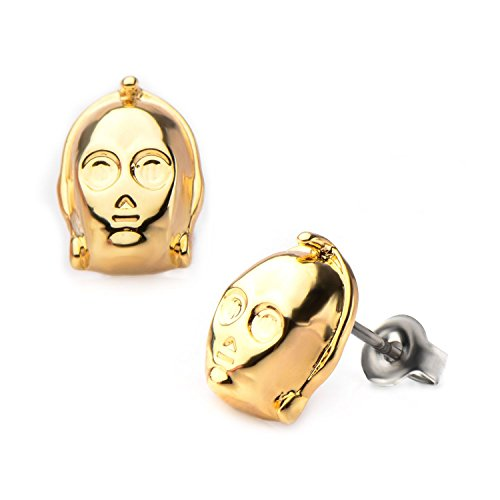 - Star Wars: C-3PO 3D Stud Earrings IP Gold-tone finish 316 Stainless Steel, 3303A