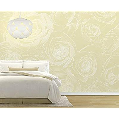 Pretty Handicraft, That's 100% USA Made, White Rose Pattern on a Soft Yellow Background Pastel Wall Mural