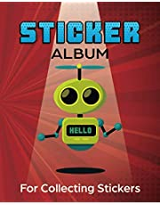 Sticker Album for Collecting Stickers: Colorful Interior, Permanent Sticker Collecting Album for Kids – Robot Themed