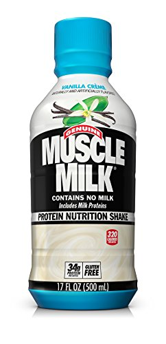 Muscle Milk Genuine Protein Shake, Vanilla Crème, 34g Protein, 17 FL OZ (Pack of 12)