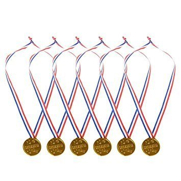 Gold Winner Award Medals Ribbon Necklaces Bulk Pack of 24 Olympic Medals By Neliblu