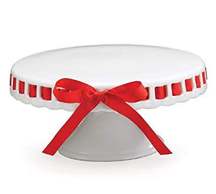 Pretty Prissy Cake Plate w/ Pedestal White w/ Rim Ribbon Interchangeable  sc 1 st  Amazon.com : cake plate with ribbon - pezcame.com