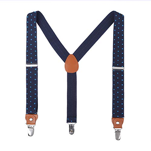 Children Boys Kids Adults Suspenders - Sturdy Metal Clips Genuine Leather suspender (43 Inches, Navy Blue& BluePolka Dot)