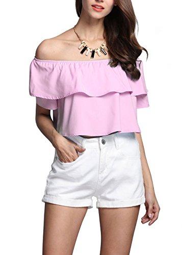 YACUN mujeres del hombro volantes camisa cultivo Pink