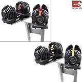 Sporteq Adjustable Dumbbells 24kg , 40kg Weights Set Selectable Gym Fitness Workout (24, 2 x...