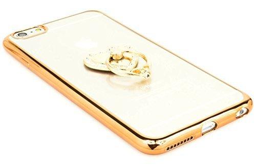 iPhone 6Plus Case, Bastex Slim Fit klar Kunststoff TPU Gold Bumper Schutzhülle mit Bling Herz Ring Halter Halterung Ständer für Apple iPhone 6Plus/6S Plus