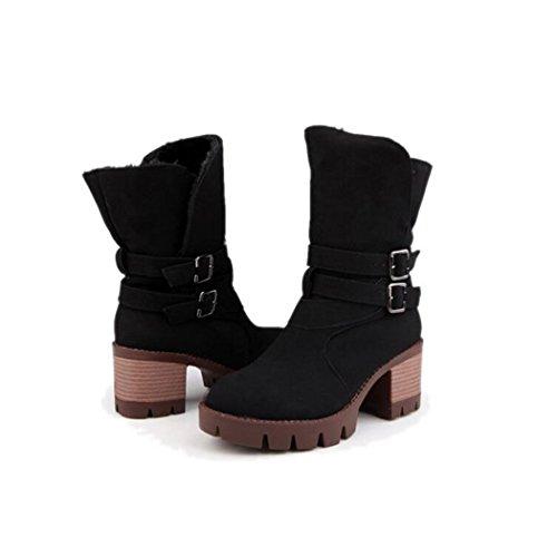 Taiwán otoño versátil y corto alumnas tacón impermeable hembra el cilindro botas botas elegante QXEl grueso ZQ de invierno Black cabeza y redonda de zapatos con 85qFUwTx