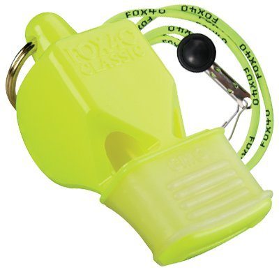 Fox 40 Classic CMG Safety Whistle with Breakaway Lanyard Neon